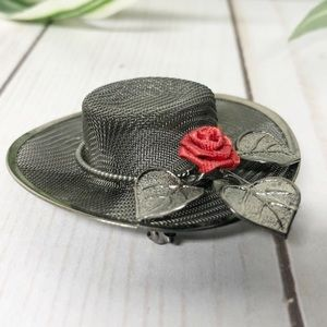 Vintage Mesh & Enamel Rose Hat Lapel Pin Brooch
